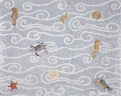 Eddies, a natural stone hand chopped mosaic shown in tumbled Thassos, Celeste, and Ming green with sea creatures, is part of the Metamorphosis Collection by Sara Baldwin for New Ravenna Mosaics. Stone Mosaic Tile, Mosaic Backsplash, Mosaic Art, Mosaic Glass, Mosaic Tiles, Tiling, Glass Art, Tile Patterns, Textures Patterns