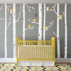 Birch Tree Wall Decal with Owls