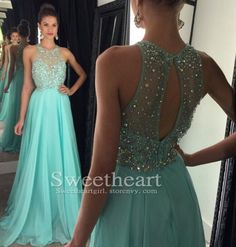 Green chiffon sequin long prom dress 2016, unique backless long evening dress for teens, modest prom dress long
