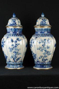 Pair Tall Blue And White Ming Porcelain Lidded Ginger Jars Urns Vases Vase