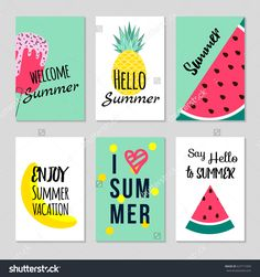 Set of Colorful summer poster with fruits, ice cream and geometric elements in memphis style background, vector