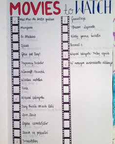 Movie bullet journal page Bujo tracker Bullet Journal Page, Bullet Journal Spread, Bullet Journal Inspo, My Journal, Journal Pages, Bullet Journal Films, Bullet Journal Topics, Bullet Journal Netflix, Books To Read Bullet Journal