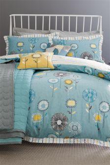 Teal Retro Floral Cotton Rich Bed Set