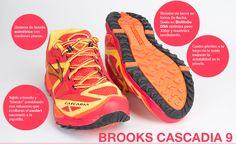 Zapatillas de trail para todo tipo de corredor, amortiguadas, confortables y especialmente indicadas para largas distancias. Su punto débil la adherencia sobre mojado y barro.  http://www.betatrailrunner.com/projects/brooks-cascadia-9/