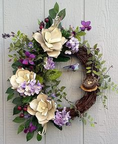 Spring Wreath, Summer Wreath, Grapevine Wreath, Magnolia Wreath, Lavender Wreath, Purple Wreath, Door Wreath, Wall Decor by TheChicyShackWreaths on Etsy