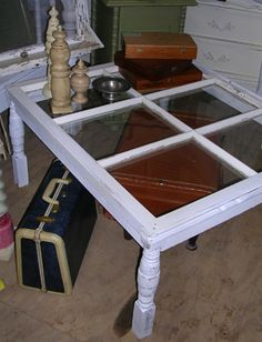 table from old window - great for end tables by couch or coffee table