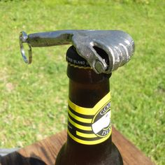 Bottle Opener Keychain Hand, Blacksmith sculpted , with names or initials engraved -- Groomsmen Gift