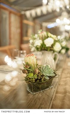 Rustic table flowers, fynbos & succulents | Photography: Kim Tracey, Flowers: The Green Chameleon