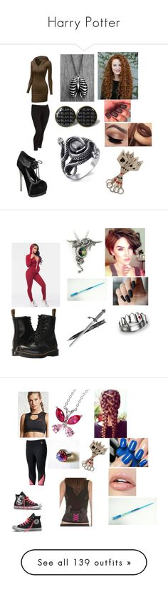 """""""Harry Potter"""" by rosemarie-lestrange ❤ liked on Polyvore featuring Doublju, Old Navy, WithChic, Dr. Martens, S.W.O.R.D., Fila, Forever 21, Converse, Miadora and Hot Topic"""