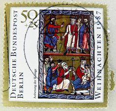 Christmas  stamp Germany Deutschland Berlin 50pf postage 50 + 25 pf. pfennig charity stamp three kings biblical magi Germany postage