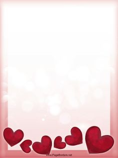 A jumble of pretty red hearts line the bottom of this Valentine's Day page border. Free to download and print.