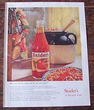 Snider's Chili Pepper Catsup Vintage 1959 Print Ad