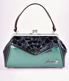 Sourpuss Emerald Sparkle Green Frame Spiderweb Backseat Baby Handbag