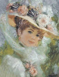 Victorian lady 5 cross stitch pattern