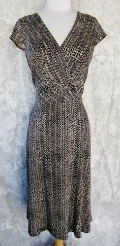 ANN TAYLOR LOFT Dress SIZE 8 NEW TAG Beige and Black  Print Fit and Flare #AnnTaylorLOFT #Sheath #WeartoWork
