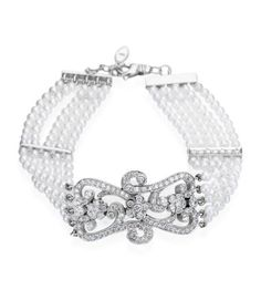 Penny Preville - Signature Collection 18K White Gold 5 Row Pearl And Diamond Bracelet