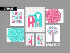 Hot Pink Turquoise and grey Nursery art prints by babyartprints