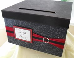 Wedding card box made with handmade specialty papers