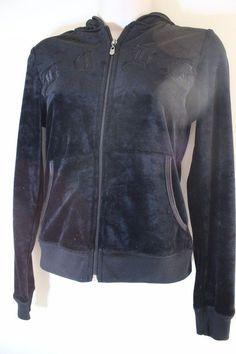 BCBG Black Zip Up Velour Women's Jacket Hoodie Size Small  #BCBGMAXAZRIA #Hoodie