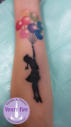Banksy tattoo - flying balloons girl - Tatuaggio B by Violet-Fire-Tattoo