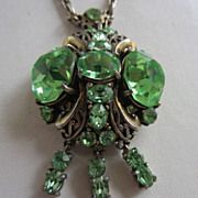 Vintage Costume Jewelry  - HOLLYCRAFT Brilliant Green Rhinestone 1952 Necklace