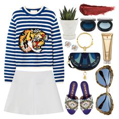 """Blue & Stripes"" by shanelala ❤ liked on Polyvore featuring Elizabeth Arden, Chive and By Terry"