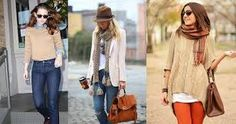 I like the scarfs in both pictures. Middle picture, I like the jeans with cardigan look. Right picture, I like the comfy sweater combine with the leggings and scarf. Latest Winter Fashion, Autumn Fashion, Fashion 2018, Fashion Dresses, Womens Fashion, Fashion Trends, Dark Blue Skinny Jeans, Winter Stil, Clothing Websites