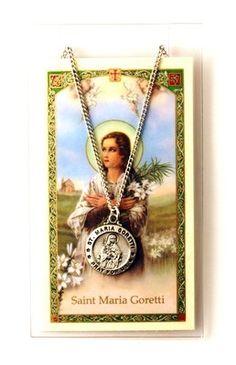 """PEWTER SAINT MARIA GORETTI* PATRON SAINT OF VIRGINS 24"""" CHAIN & HOLY CARD"""