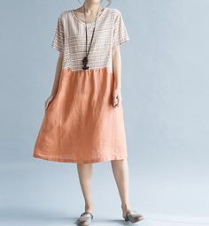 Fabric; cotton, linen Color; Blue, orange Size Shoulder 42cm / 16.4  Bust 100cm / 39  Waist 125cm / 49  Sleeve 16cm / 6.3  Length 97cm / 38   Have any questions please contact me and I will be happy to help you.