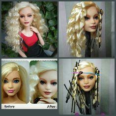 Doll Hair Repair, Barbie Girl Doll, Barbie Hairstyle, Custom Barbie, Doll Wigs, Barbie Clothes, Barbie Stuff, Barbie Patterns, Wig Styles