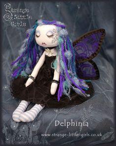 Delphinia - Gothic fairy cloth doll by Jo Hards