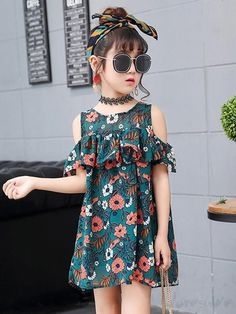 SSZZoo Kid Bady Girl Set Bare Shoulder Tops Shirt+Floral Shorts+Hair Band Casual Outfit