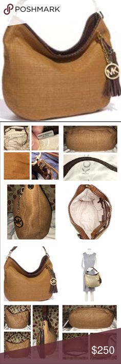 """NWOT Michael Kors Large Bennett Soft Straw Hobo Michael Kors Large Bennett Hobo in Dark Soft Straw and Mocha Colored Strap and Trim! It's a Gorgeous bag to say the least! High End Bag! Don't have the tags, sorry! It's Logo lined, key fob, 1 zip, multiple slip pockets and a snazzy tassel for an awesome accent! Description in pics as well the bag is high end and worth it! It measures 14 x 11 x 5 """"approximately"""" strap drop is 6"""" no trades price firm MICHAEL Michael Kors Bags Shoulder Bags"""
