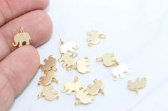 10 Pcs 24K Tiny Gold Plated Charm, Gold Plated Elephant Charm, Jewelry Charm Findings , Metal Charm,Gold Plated Charms - RM7