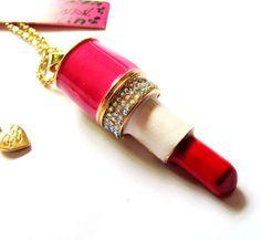 Betsey Johnson rainbow crystal Fashion lipstick pendant Necklace boho chic! #BetseyJohnson #Pendant
