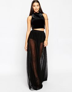 ASOS Sheer Maxi Skirt with Knicker Short ($47) ❤ liked on ...