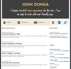 Online Resume Website Resume  Curriculum Vitae Cv  Pinterest
