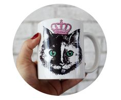 Princess Cat Coffee Mug, Sublimated By Hand, 11 oz Kitten Cup, Hand Made, House Pet, Domestic Animal Customizable Gift, Pink, Black, White