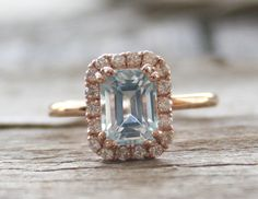 2.01 Cts. Pastel Blue Aquamarine Diamond Engagement Halo Ring in 14K Rose Gold - March Birthstone