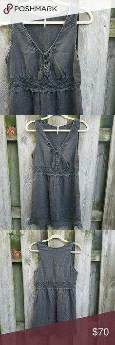 Free People Lace Inset Dress Small ThreadSence Lace Inset Dress By Free People. Ultra soft washed black chambray dress. Button up bodice, pin tucked details, and sheer lace panels. As seen on TV worn by Scarlett O'Connor on nashville season 1 episode 4 Free People Dresses