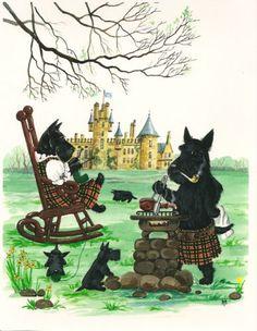 8x10 Print of Painting RYTA Scottish Terrier Folk Art Scottie Christmas Gift Dog | eBay