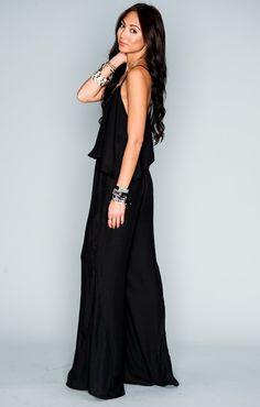 Mumu - Danni Jumpsuit - Black Silky Satin | Show Me Your MuMu