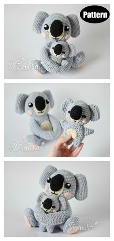 Mommy with Baby Koala Amigurumi Crochet Pattern If you are an advanced beginner and want to try something new, this Adorable Koala Free Crochet Pattern couldn't be a more perfect idea. Crochet Teddy, Cute Crochet, Crochet For Kids, Crochet Crafts, Crochet Toys, Crochet Baby, Crochet Animals, Diy Crafts, Crochet Amigurumi Free Patterns