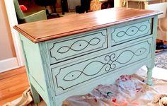 Rustic Farmhouse Dresser~DIY chalk paint~dresser makeover~rustic home decor
