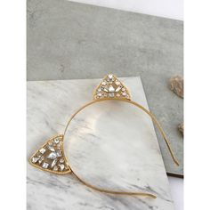 Metallic Jewel Cat Ears Headband GOLD ($8.50) ❤ liked on Polyvore featuring accessories, hair accessories, gold, gold headwrap, jewel headband, headband hair accessories, jeweled headband and cat ears headband - Tap the link now to see all of our cool cat collection