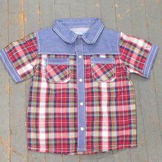Kapital K Boys Style Short Sleeve Button Up Collared Red Denim Plaid Shirt