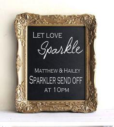 CHALKBOARD Wedding Sign with EASEL Antique Gold Magnetic Chalk Board Wedding Vintage Sign - 11x14