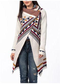 Beyaz Renkli Aztek Desenli Şal Yaka Triko Bayan Hırka