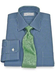 Non-Iron 2-Ply 100% Cotton Broadcloth Check Spread Collar Trim Fit Dress Shirt from Paul Fredrick - 16x36