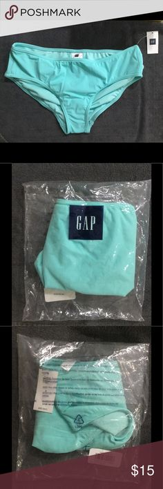 NWT Gap Aqua Tide Mid Waist Hipster Bikini Bottom This bathing suit bottom is brand new, never been worn.  I had to open the bag to get a photo of the item.  Size Small.  Comes from a smoke free household GAP Swim Bikinis
